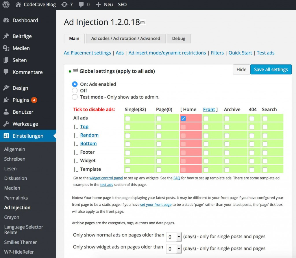 Ad Injection WordPress AdSense